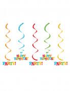 5 Suspensions en spirales Happy Birthday 50 et 64 cm