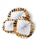 3 Rosaces blanches à bords dorés  30, 25, 20 cm