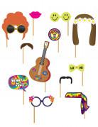 Kit photobooth 12 pièces Hippie