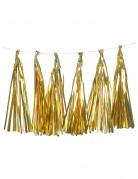 Guirlande tassel 12 pompons dorés métallisés