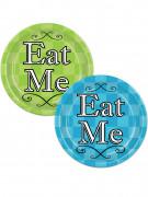 8 Assiettes en carton Alice au pays imaginaire vertes et turquoises 23 cm
