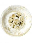 8 Assiettes en carton roses blanches 23cm