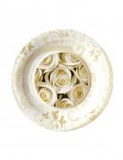 8 Petites assiettes en carton roses blanches 18 cm