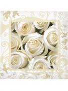 20 Serviettes en papier roses blanches 33 x 33cm
