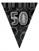 Guirlande fanions gris âge 50 ans 274 cm