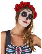 Serre-tête fleurs rouge Dia De Los Muertos adulte