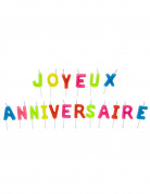 Bougies Joyeux anniversaire multicolores 4,5 cm