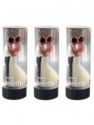 3 Canons à confettis blancs 10,5 cm