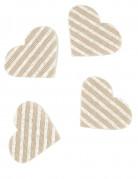 24 Confettis cœur en lin rayé 5,5 x 4 cm