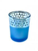 Photophore en verre mat turquoise 6,5 x 5,5 cm