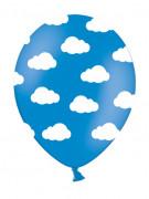 6 Ballons bleus nuages blancs