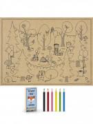 6 Coloriages avec crayons Forêt pour enfant 27,5 x 37,5 cm