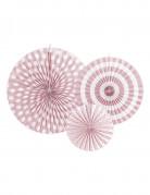 4 Rosaces en papier rose clair 23, 32 et 40 cm