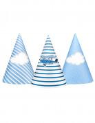6 Chapeaux de fête petit avion bleus 15,5 cm
