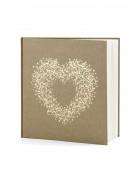 Livre d'or kraft avec coeur doré 22 pages