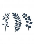 9 Décorations de table feuilles bleu marine 16 cm