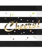 16 Petites serviettes en papier Cheers noires et dorées 24.5 cm