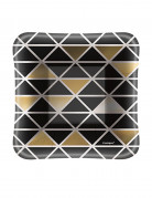 8 Petites assiettes carrées en carton noir et doré 12.5 cm