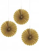 3 Mini rosaces en papier dorés 15 cm