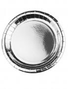 8 Assiettes en carton métallisé argent 23cm