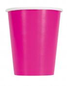 14 Gobelets en carton rose fuchsia 270 ml