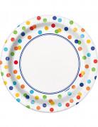 8 Petites assiettes en carton Happy birthday pois colorés 18 cm