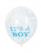Ballon latex it's a boy confettis bleus