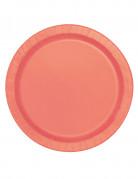 16 Assiettes en carton corail 23 cm