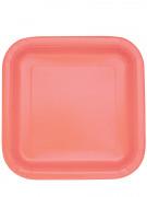 14 Assiettes carrées en carton corail 22 cm