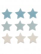 9 Décorations gâteau en sucre étoiles bleues et blanches 2.5 cm