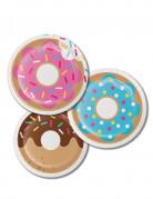 8 Petites assiettes en carton Donuts 18 cm