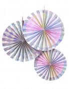 3 Rosaces en carton iridescentes et arc-en-ciel
