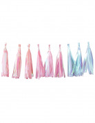 Guirlande tassel 18 pompons pastel iridescents