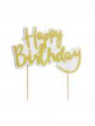 Décoration gâteau Happy Birthday or