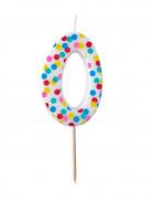 Bougie d'anniversaire colorée chiffre 0