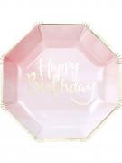 8 Assiettes en carton rose et or Happy Birthday 25 cm