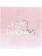 20 Serviettes en papier rose et or Happy Birthday 33 x 33 cm