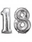 2 Ballons aluminium argent 18 ans 66 cm