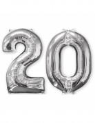 2 Ballons aluminium chiffre 20 argent 66 cm