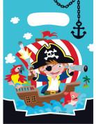 8 Sachets de fête plastique Pirate 16 x 23 cm