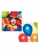 12 Serviettes Clown party 33 X 33 cm