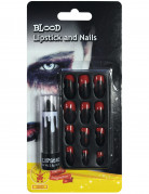 Kit rouge à lèvre et faux ongles ensanglantés adulte