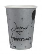 10 Gobelets en carton anniversaire argentés 200 ml