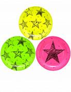 6 Assiettes en carton Neon Party 23 cm