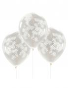 5 Ballons confettis avec flocons de neige blancs 30 cm