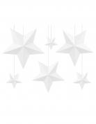 6 Etoiles à suspendre 3D blanches noël