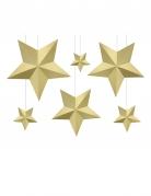 6 Etoiles à suspendre 3D dorées Noël