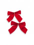 2 Ronds de serviette noeuds velours rouge 10 cm