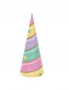 8 Chapeaux de fête en carton licorne