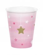 8 Gobelets en carton One Little Star rose 256 ml